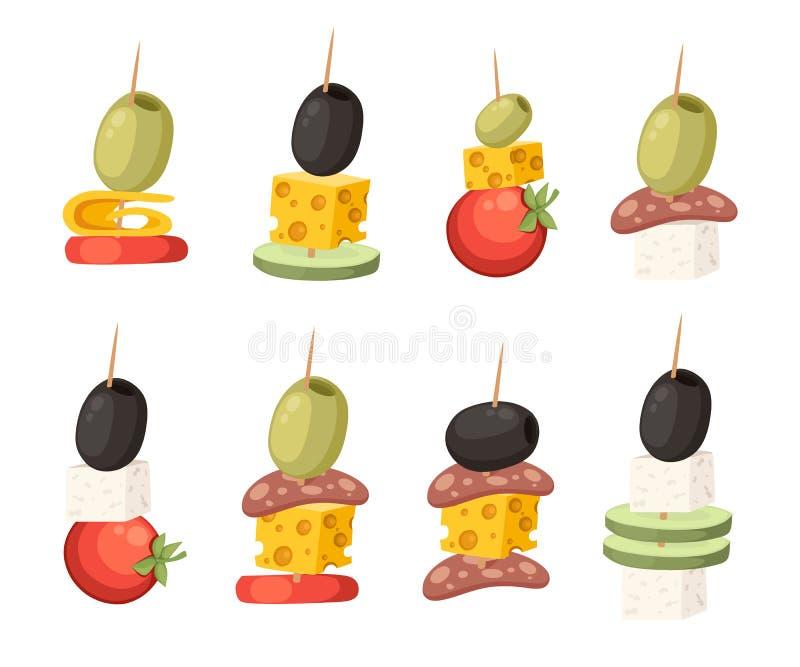 Canapes con diversos desmoches Comida del restaurante con el palillo de madera Bocado, aperitivo para los restaurantes Ejemplo pl ilustración del vector