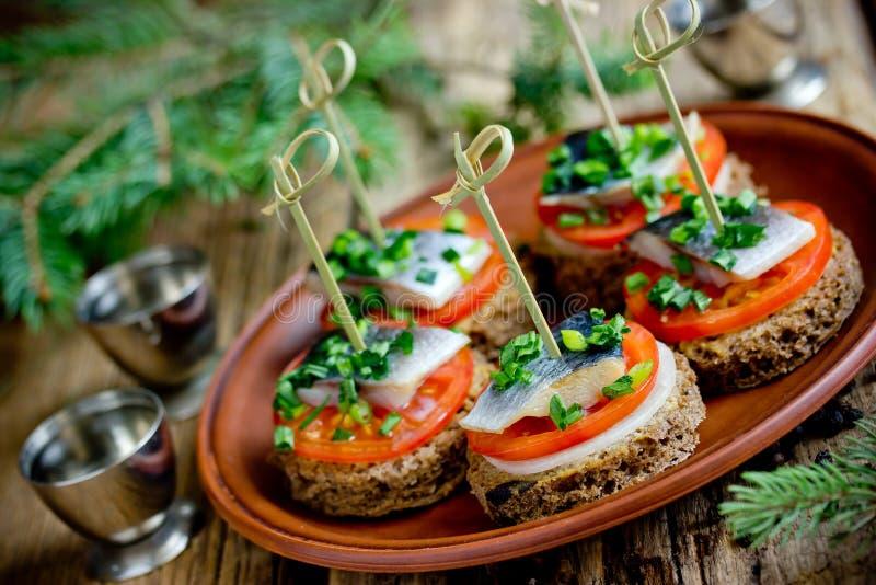 Canapes met roggebrood, gezouten haringenfilet, mosterd, ui, tomaat stock foto