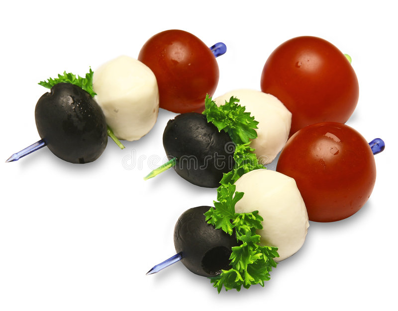 Canapes mit Tomaten lizenzfreie stockfotografie