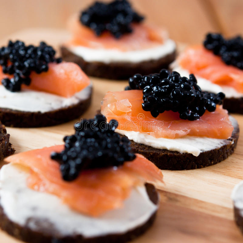 Free Canapes With Salmon And Caviar Royalty Free Stock Photography - 12254187