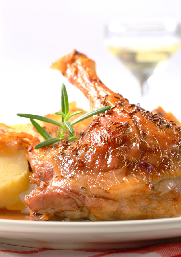 Canard de rôti avec les boulettes de pomme de terre et le chou blanc image libre de droits