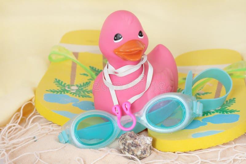 Canard en caoutchouc avec des bascules électroniques et des lunettes photos libres de droits
