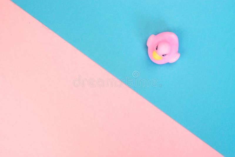 Canard en caoutchouc de bain sur le fond color? Vue sup?rieure sur le canard en caoutchouc de jouet Jeu de jouet pour le flotteme image libre de droits