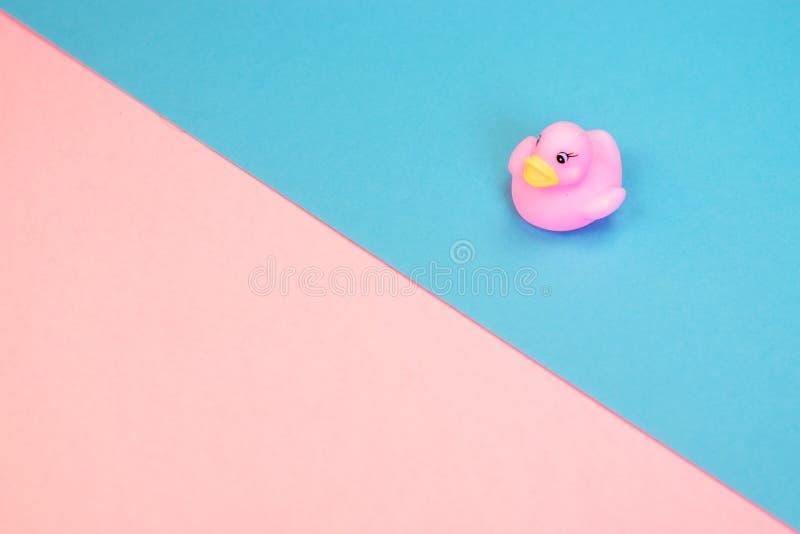 Canard en caoutchouc de bain sur le fond color? Vue sup?rieure sur le canard en caoutchouc de jouet Jeu de jouet pour le flotteme image stock