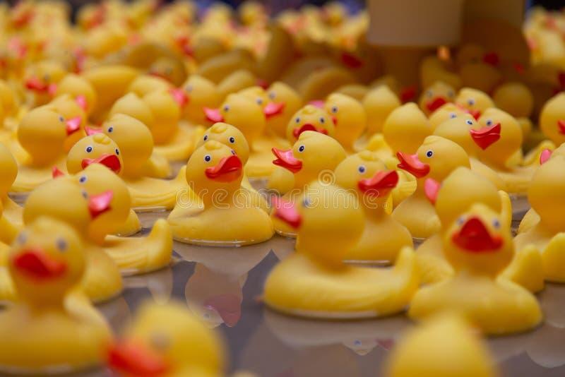 Canard en plastique jaune dans la fontaine Londres images libres de droits