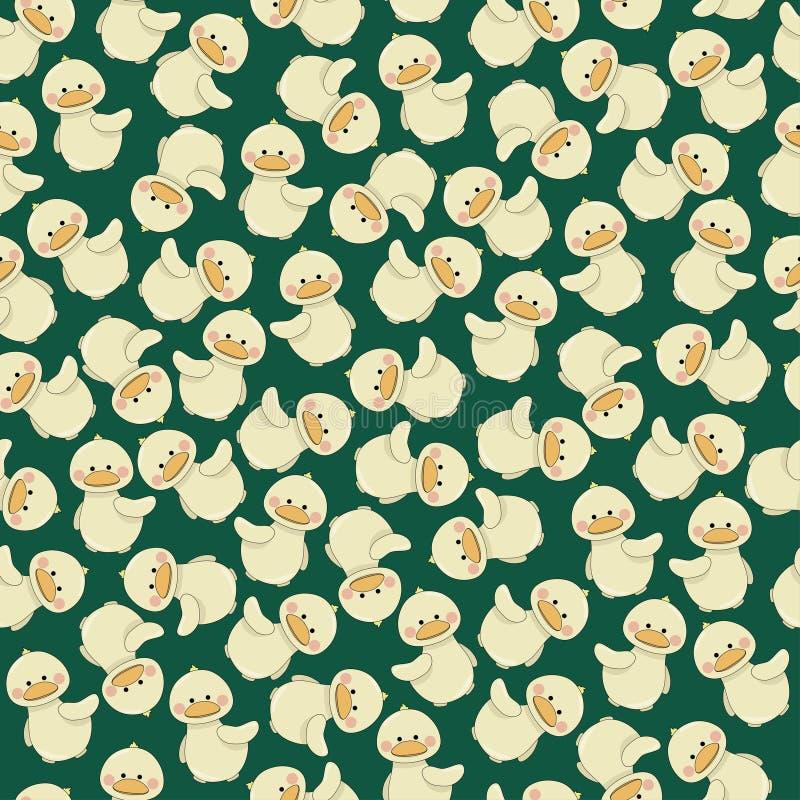 Canard mignon de bébé sur le modèle sans couture de fond vert illustration libre de droits