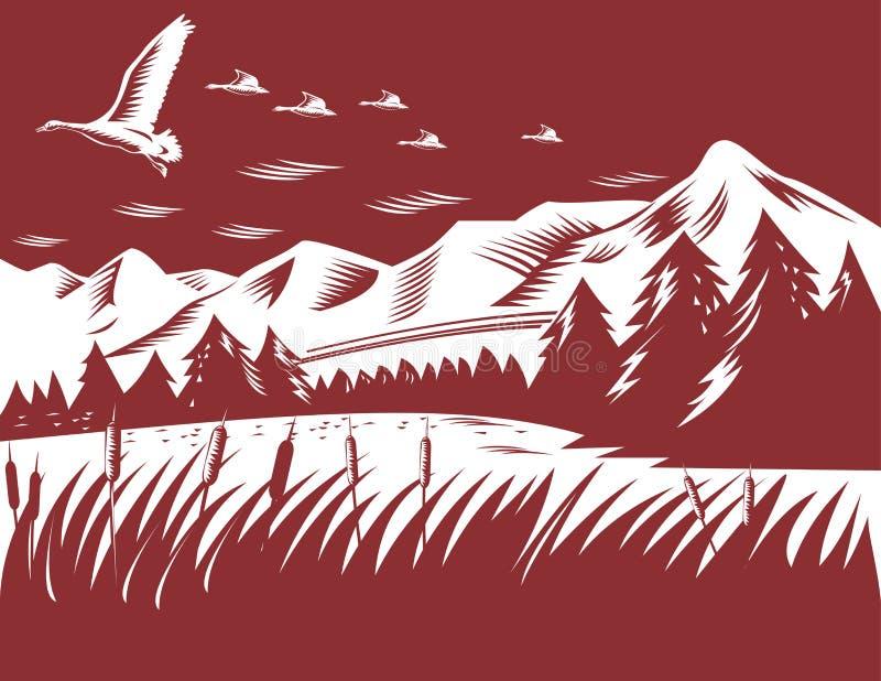 Canards volant avec des montagnes illustration libre de droits