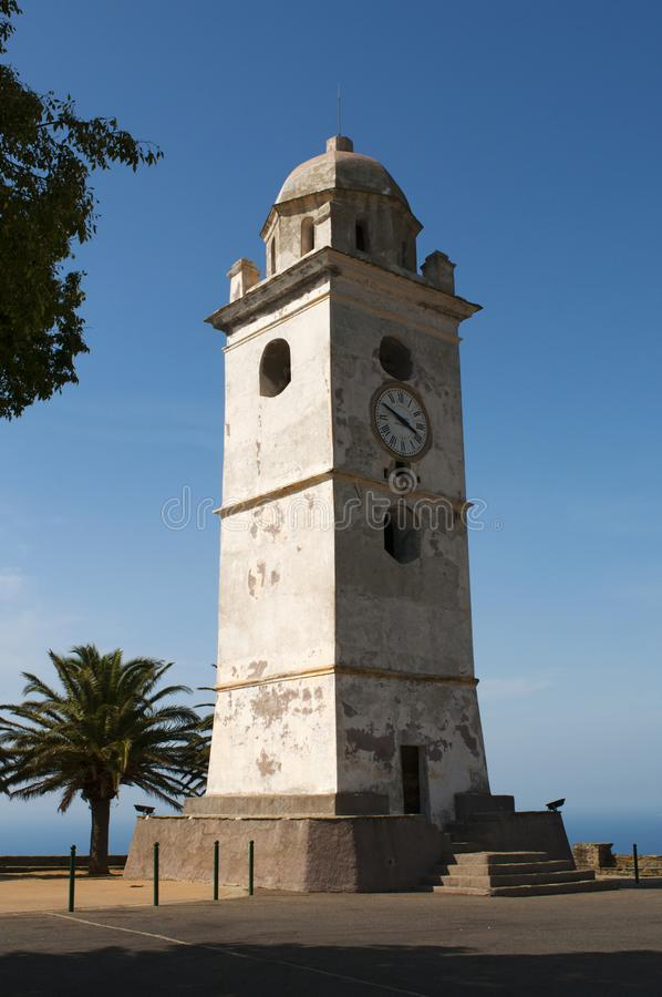 Canari, Haute Corse, Cape Corse, Corsica, Upper Corsica, France, Europe, island. Cap Corse, Corsica, 28/08/2017: the white bell tower in Canari, a former royalty free stock images