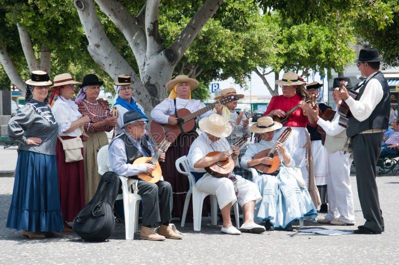 Canarian traditionell musik, Tenerife, Spanien arkivbilder
