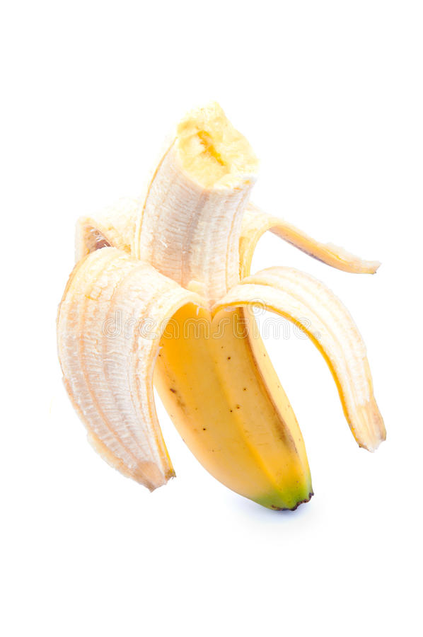 Canary banana with a bit stock photography