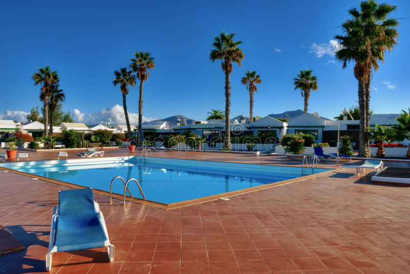Canary Island holiday complex with pool stock images