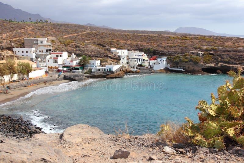 Canary Islands - Tenerife. Tenerife, Canary Islands, Spain - town of El Puertito. Black sand beach of Costa Adeje coast royalty free stock photography