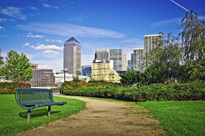 Canary Wharf. Famous skyscrapers of London's financial district. This view includes: Credit Suisse, Morgan Stanley, HSBC Group Head Office,  Tower, Citigroup royalty free stock photos