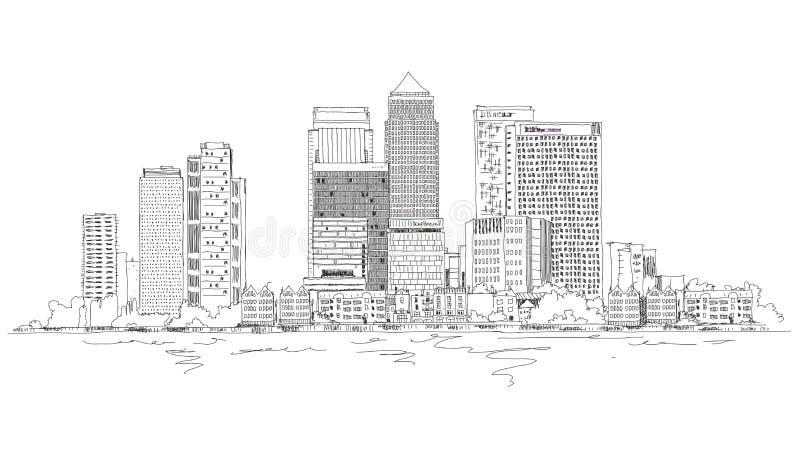 Canary Wharf-bedrijfsaria, Londen, de illustratie van de Schetsinzameling stock illustratie