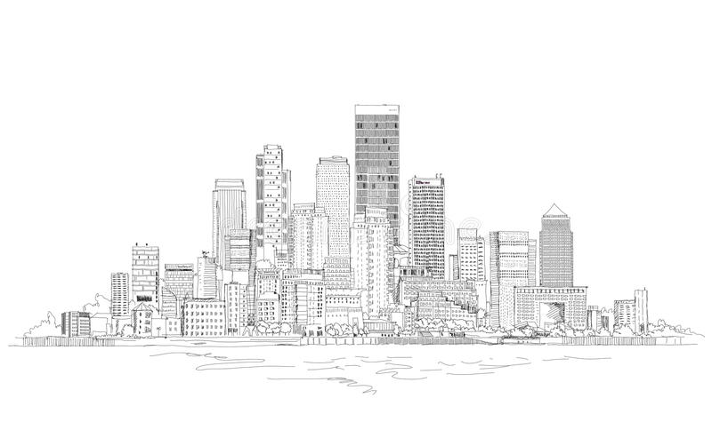 Canary Wharf-bedrijfsaria, Londen, de illustratie van de Schetsinzameling vector illustratie