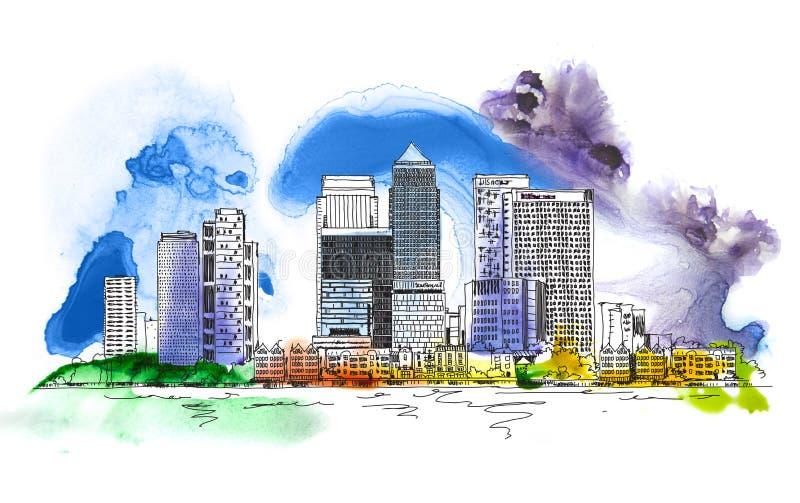 Canary Wharf-bedrijfsaria, Londen, Schets met het kleurrijke effect van de waterkleur Londen stock illustratie