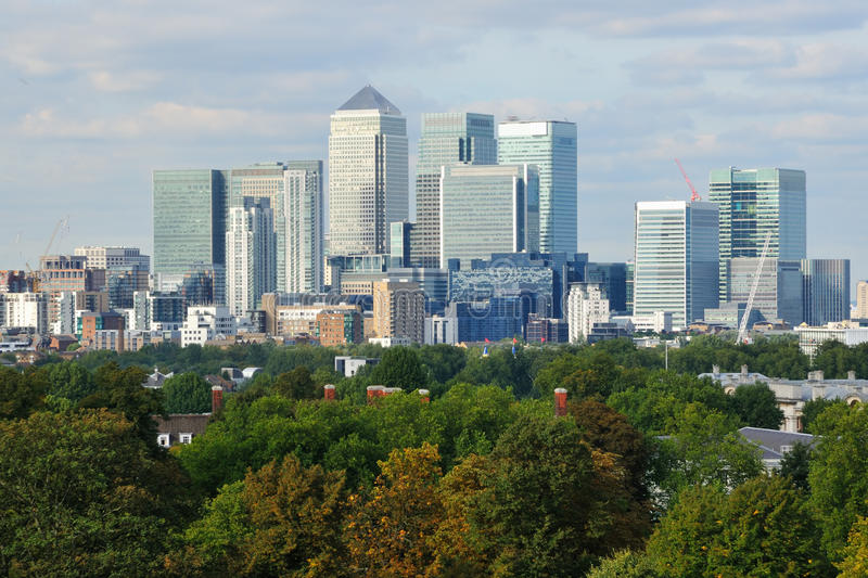 Canary Wharf business district London UK royalty free stock photos