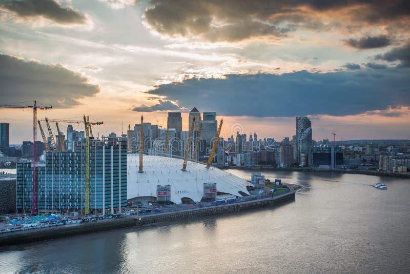 London city o2 arena skyline panorama royalty free stock photos