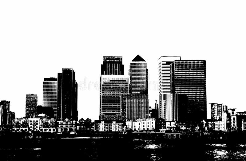 Canary Wharf in Londen stock illustratie