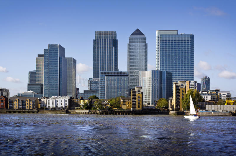 Canary Wharf, London. Canary Wharf view from Greenwich. This view includes: Credit Suisse, Morgan Stanley, HSBC Group Head Office, Canary Wharf Tower, Citigroup stock photo