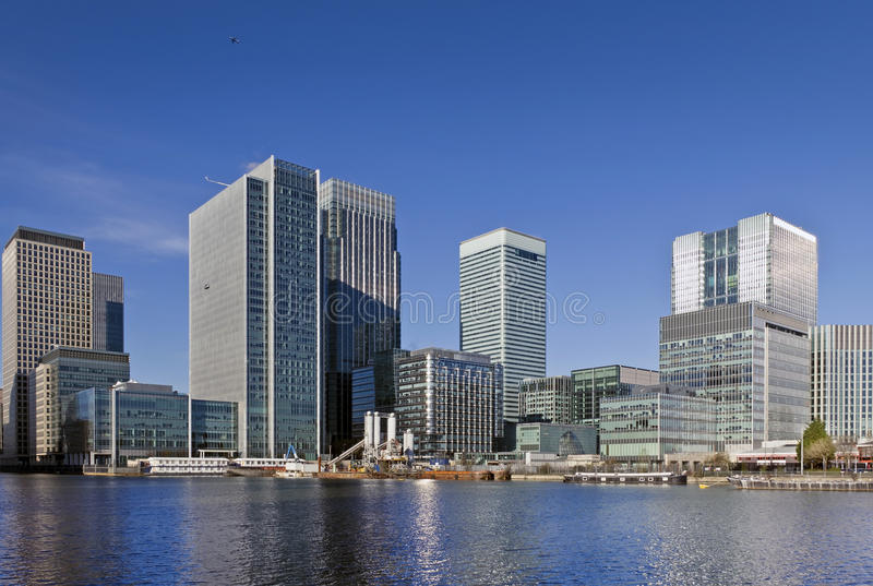 Canary Wharf, London. This view includes: Credit Suisse, Morgan Stanley, HSBC Group Head Office, Citigroup Centre, One Churchill Place(Barclays royalty free stock photo