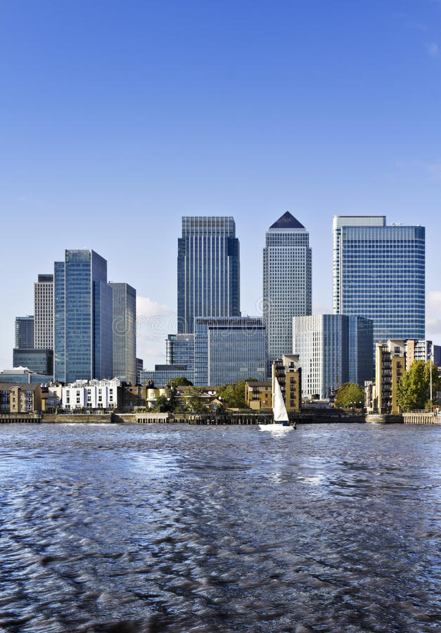 Canary Wharf, London. Canary Wharf view from Greenwich. This view includes: Credit Suisse, Morgan Stanley, HSBC Group Head Office, Canary Wharf Tower, Citigroup royalty free stock image