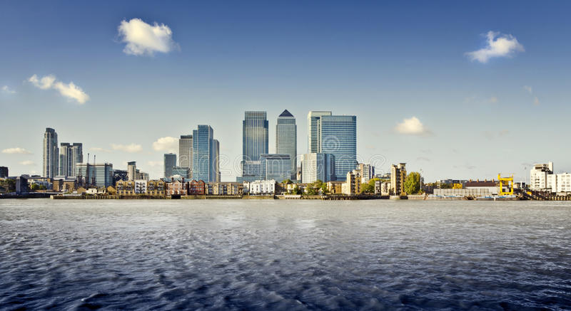 Canary Wharf, London. Canary Wharf view from Greenwich. This view includes: Credit Suisse, Morgan Stanley, HSBC Group Head Office, Canary Wharf Tower, Citigroup royalty free stock photography