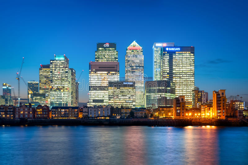 Canary Wharf in London at dusk stock image
