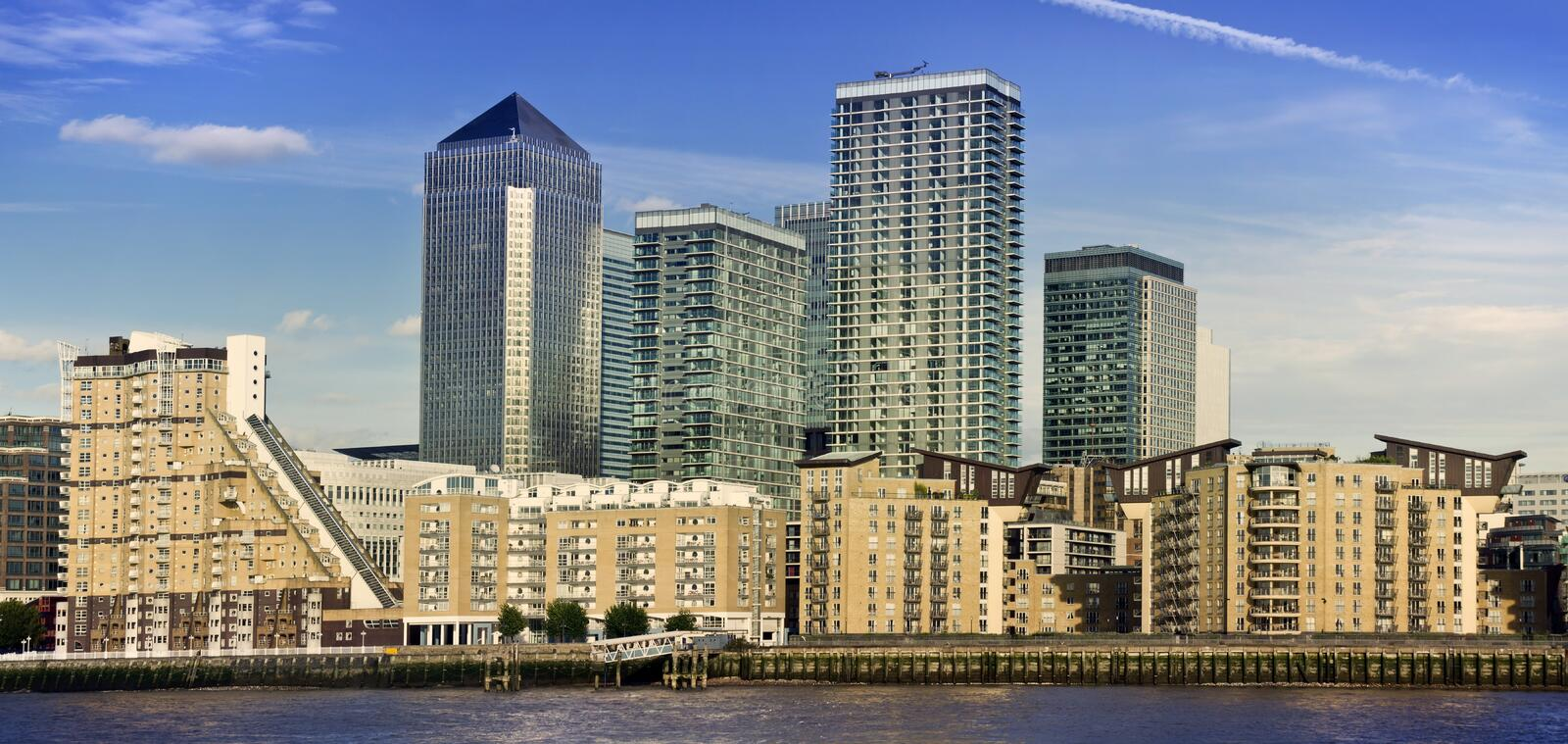 Canary Wharf, London, UK. Canary Wharf, Famous skyscrapers of London's financial district. This view includes Credit Suisse, Morgan Stanley, HSBC Group Head stock photos