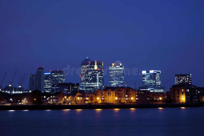 Canary Wharf by night stock images