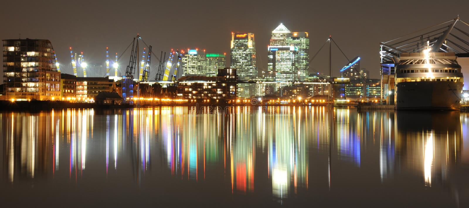 Download Canary Wharf by night stock photo. Image of landmarks - 5730322