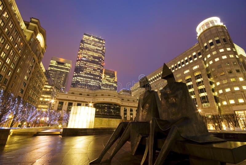 Canary Wharf at night stock image