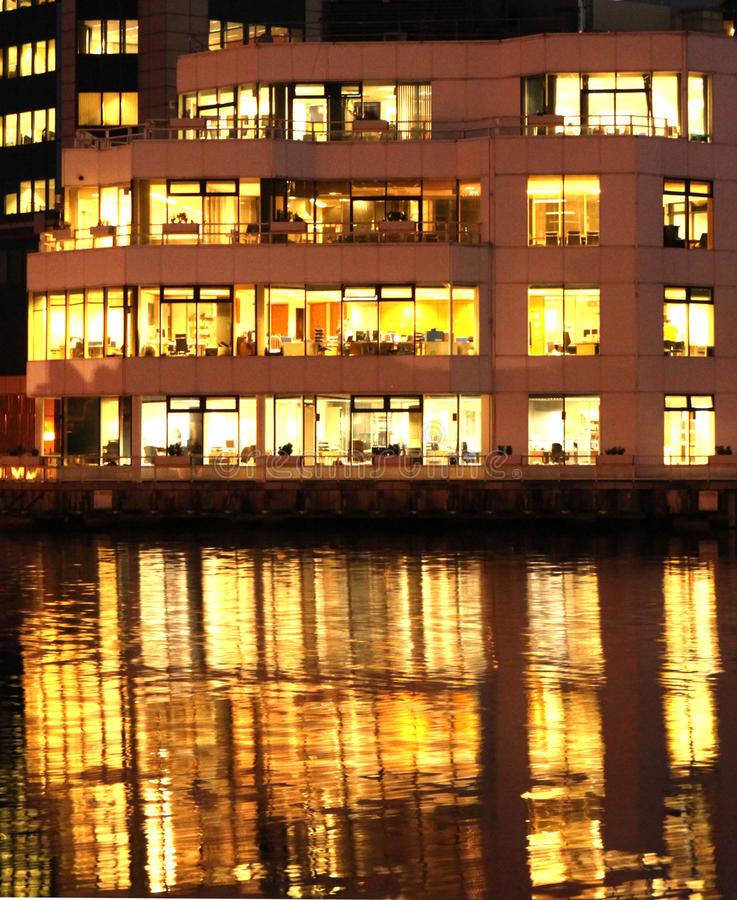 Canary Wharf office building in twilight stock photography