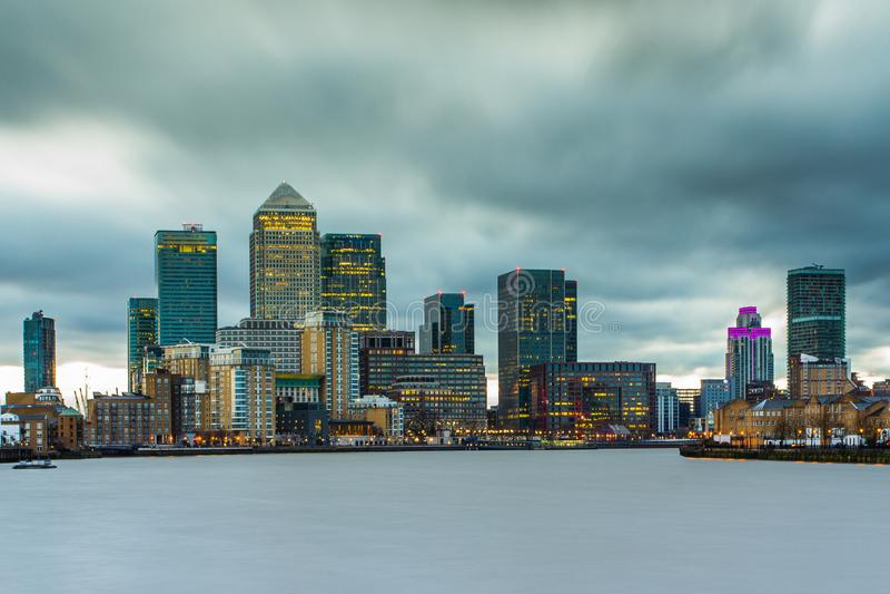 Canary Wharf, orizzonte, Londra Il Regno Unito immagine stock