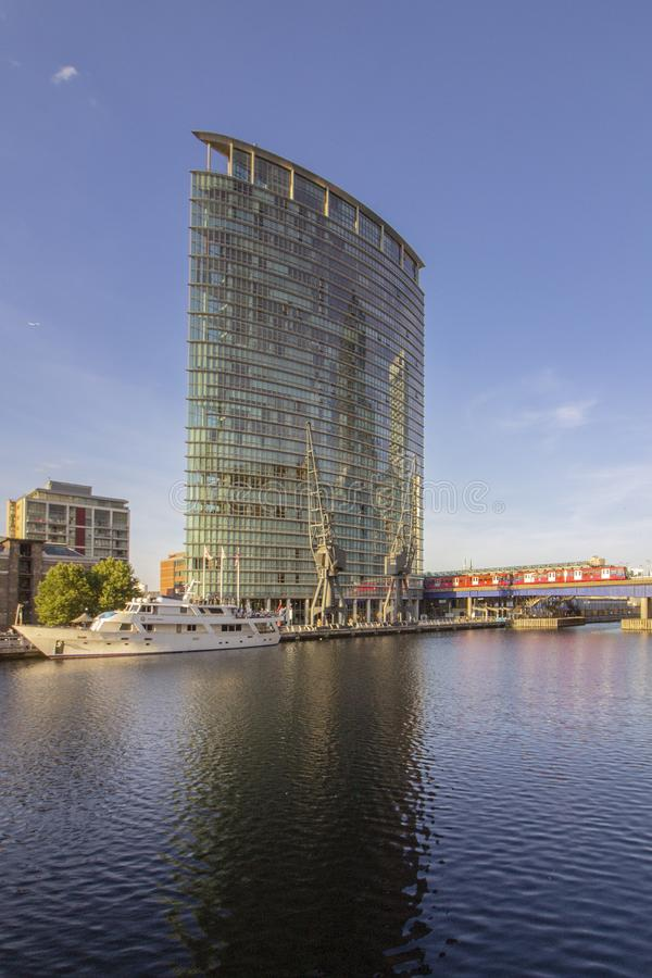 Canary wharf riverside inland bay panoramic view, London, UK royalty free stock image
