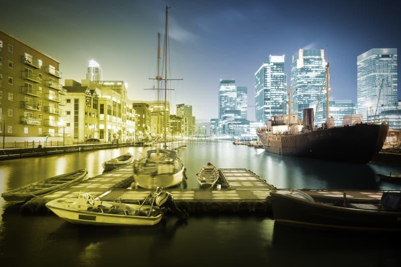 Canary Wharf Skyline at Twilight stock photos
