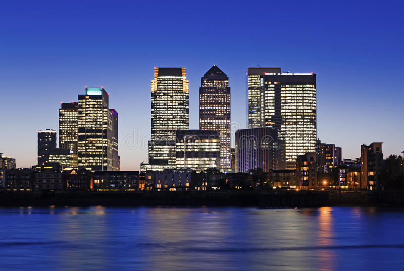 Canary Wharf at twilight. Canary Wharf at dusk, Famous skyscrapers of London's financial district at twilight. This view includes: Credit Suisse, Morgan Stanley royalty free stock images