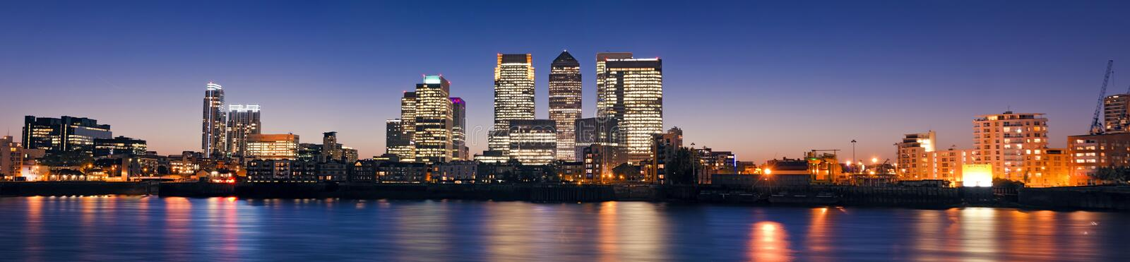 Canary Wharf at twilight. Canary Wharf at dusk, Famous skyscrapers of London's financial district at twilight. This view includes: Credit Suisse, Morgan Stanley royalty free stock image