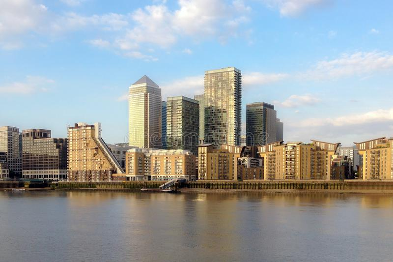 Canary Wharf view from Greenwich. Corporate business glass build royalty free stock images