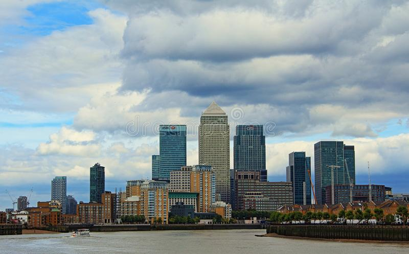 Canary Wharf Isle of Dogs skyline London United Kingdom. Canary Wharf viewed from the west.Canary Wharf is a major private estate owned by Canary Wharf Group in royalty free stock image