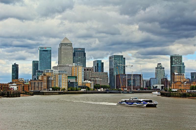 Canary Wharf stormy skies view London United Kingdom. Canary Wharf viewed from the west.Canary Wharf is a major private estate owned by Canary Wharf Group in royalty free stock photography