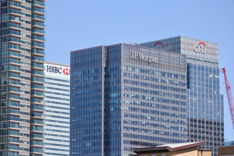 Canary Wharf w Londyn linii horyzontu fotografia stock