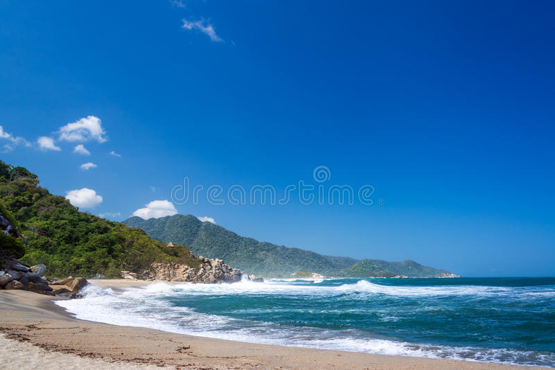 Canaveral Beach. In Tayrona National Park near Santa Marta, Colombia royalty free stock images