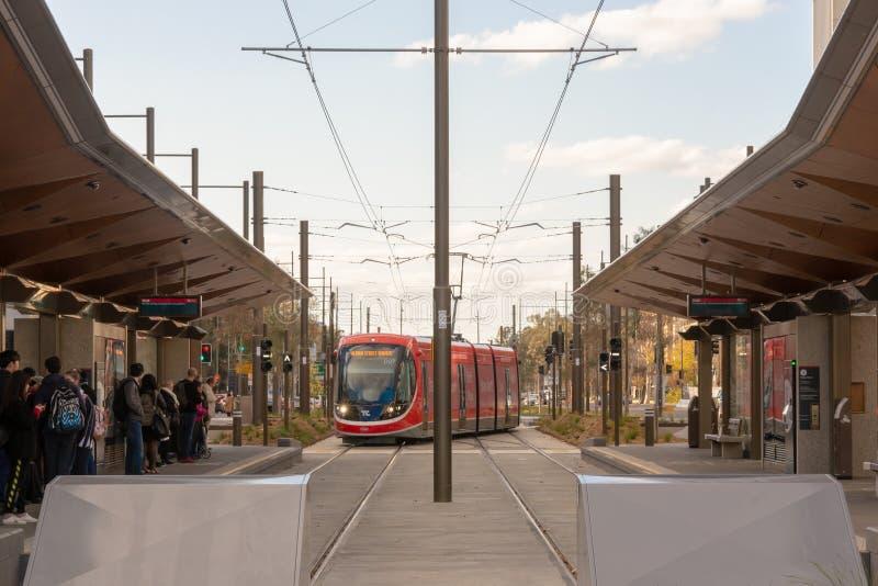 Canberra, Australië - Juli derde 2019: Een Metro van Canberra Licht Spoorvoertuig die bij een Platform aankomen royalty-vrije stock afbeelding