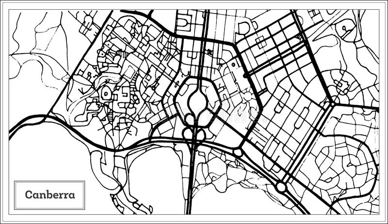 Canberra Australia City Map in Black and White Color. stock illustration