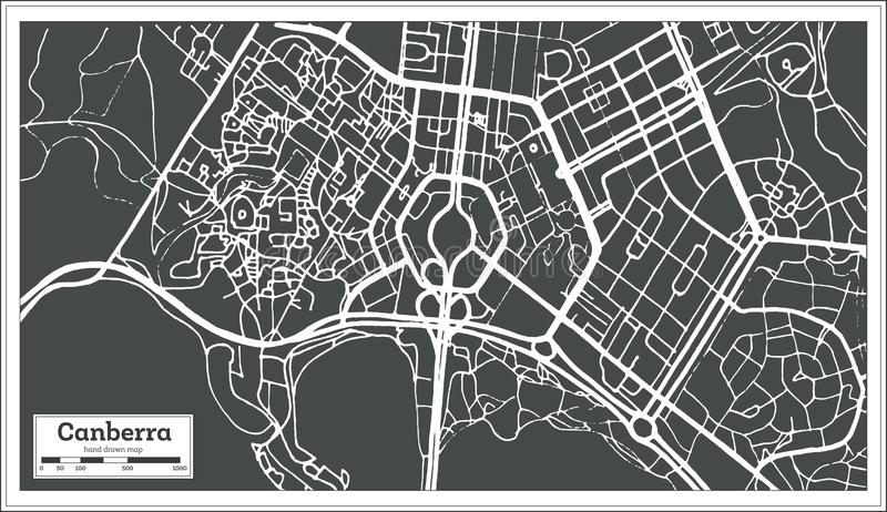 Canberra Australia City Map in Retro Style. Outline Map. stock illustration