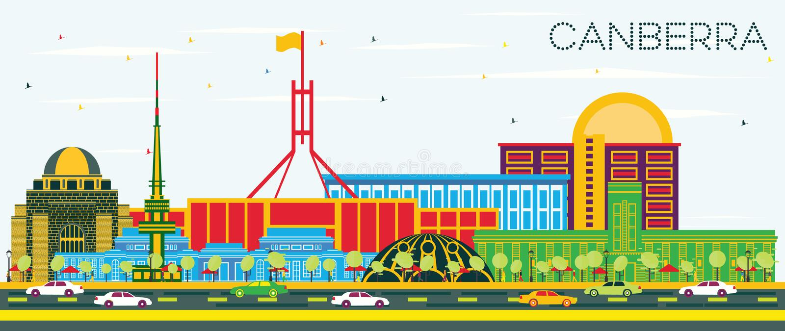 Canberra Australia City Skyline with Color Buildings and Blue Sk stock illustration