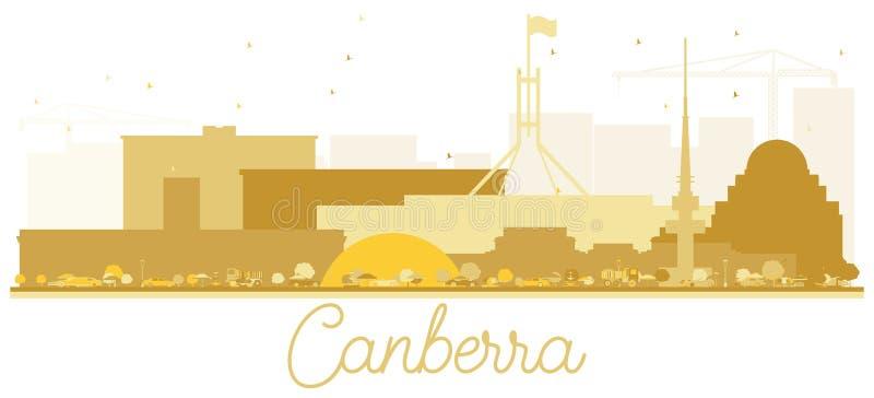 Canberra Australia City skyline Golden silhouette. royalty free illustration