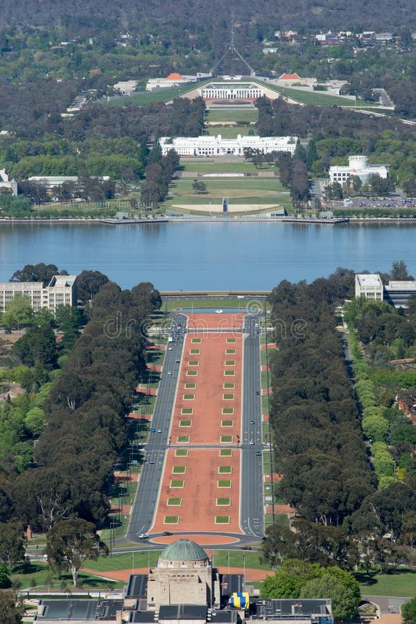 Canberra, Australia - October 13th 2013: View of Canberra from Mt Ainslie Lookout royalty free stock image