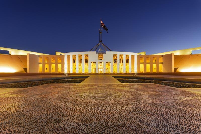 Canberra Australia Parliament House Twilight. 11 July 2010: Canberra, Australia - Parliament House, Canberra, Australia, illuminated at twilight. Aboriginal stock images